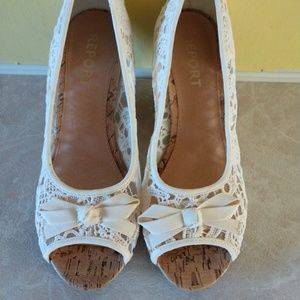 Report lace open toe Wedge